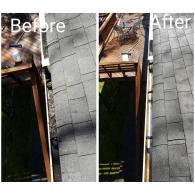 Before and after doing our gutter cleaning.
