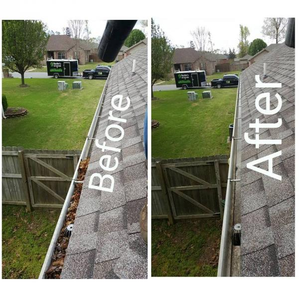 Before and after removing leaves from gutters.